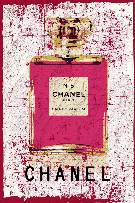 Abstract Grunge Chanel No 5 Fashion Original Art Print